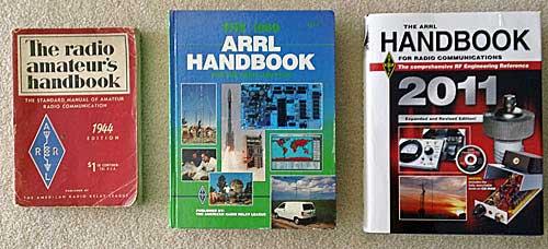 Three ARRL Handbooks, 1944, 1989, and 2011.