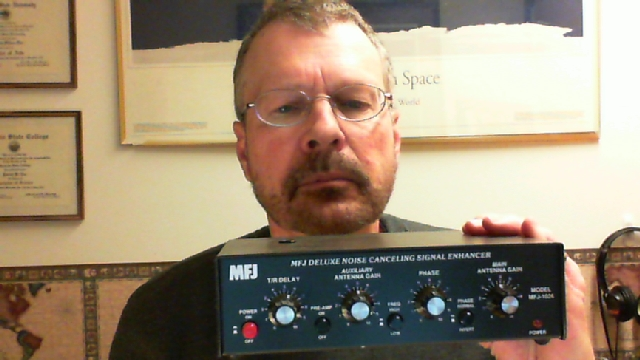 Pat holding the MFJ-1026 Noise Canceler