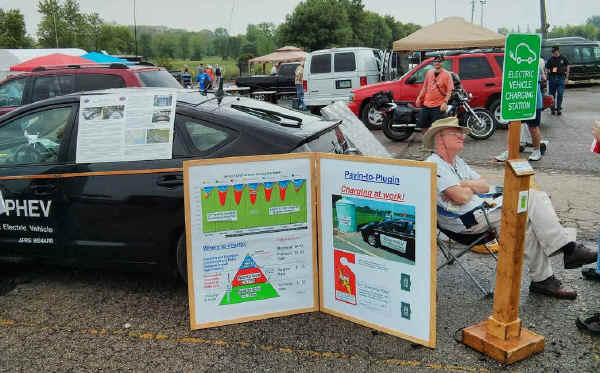 Bob Bruninga, WB4APR, at his PHEV in flea market lot at Hamvention 2013.
