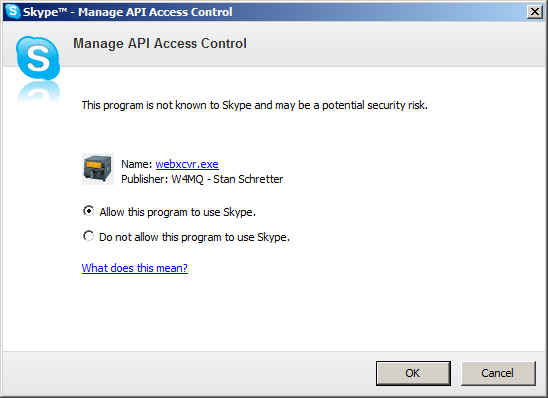 screenshot of Skype showing Manage API access control dialog.