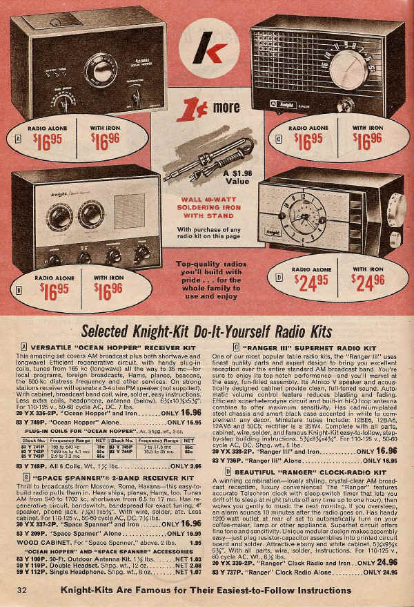Allied catalog page from 1968 showing Ocean Hopper shortwave receiver kit