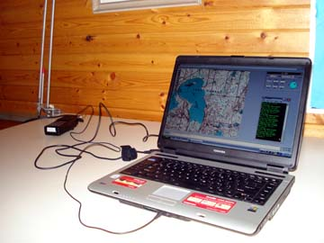 An APRS tracking station shows the position of the pontoon boat on Lake George at Camp Courage North.