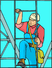 Cartoon guy with hard hat and toolbag climbing tower