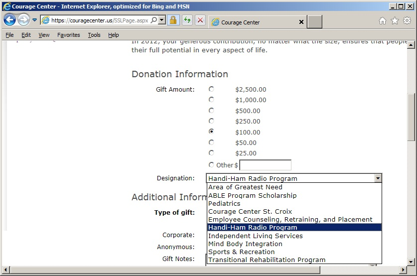 "Screenshot of the donation page pull-down menu showing ""Handiham Radio Program"" selected."