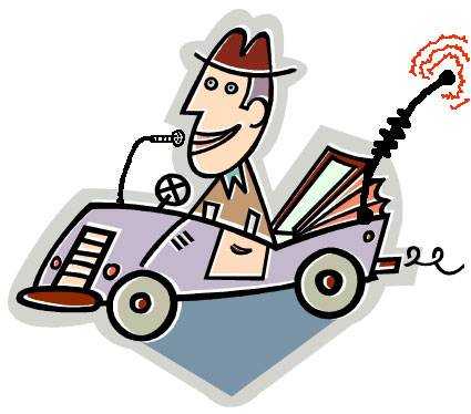Cartoon guy driving car with mobile antenna
