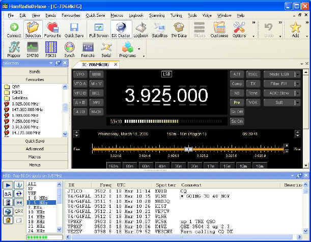 Ham Radio Deluxe main screen