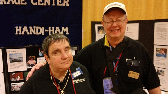 Shirley Roberts, N8LX, and Lynn Roberts, N8LXK, at the Handiham booth.