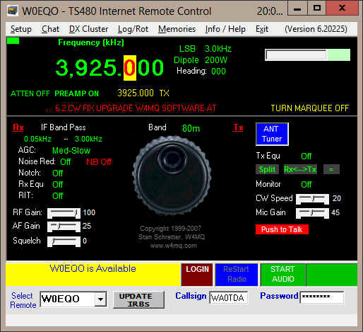 Screenshot of W4MQ client software when first opened.