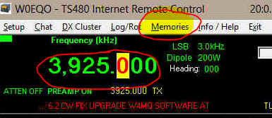 "Screenshot highlighting frequency set to 3,925.000  and ""Memories"" in the menu bar."
