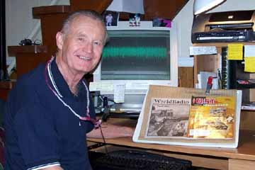 Handiham volunteer Bob Zeida, N1BLF, at his recording station.