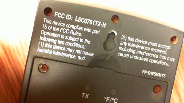Back of remote sensor showing FCC statement
