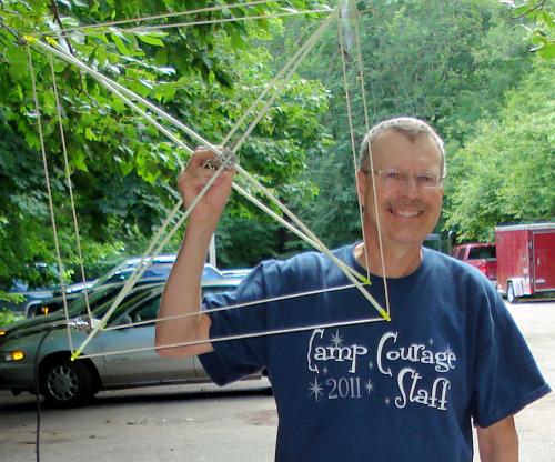 Pat, WA0TDA, with 2 meter quad antenna