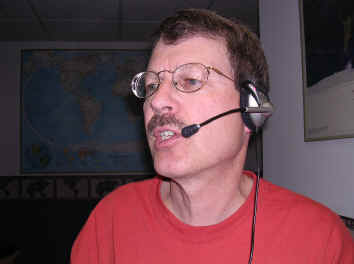 Pat, WA0TDA, talking on EchoLink with boom mic headset