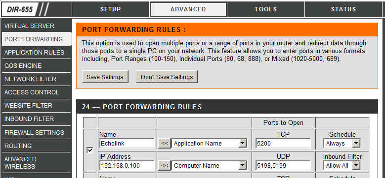 Port forwarding rules screenshot