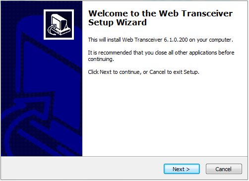 Screenshot:  Web transceiver setup screen, version 6.1.0.200