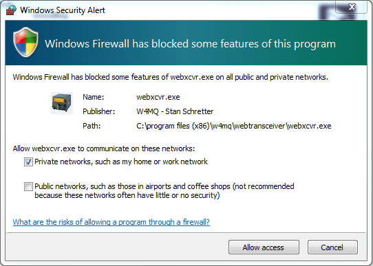 "Windows security alert dialog showing ""Windows has blocked some features of this program."" The program is webxcvr.exe.""Private networks, such as my home or work network"" is selected."