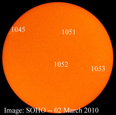 SOHO solar image from 2 March 2010 showing 4 spot groups.