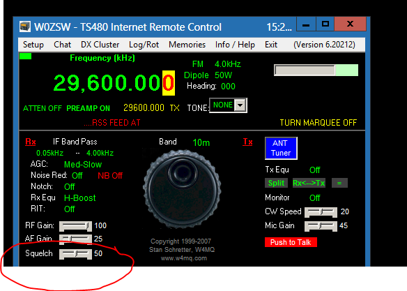Screenshot of client software showing FM mode with squelch setting at 50 (circled), and availability of drop-down for tone setting (simplex selected, since radio is set to 29.6 MHz simplex frequency.)