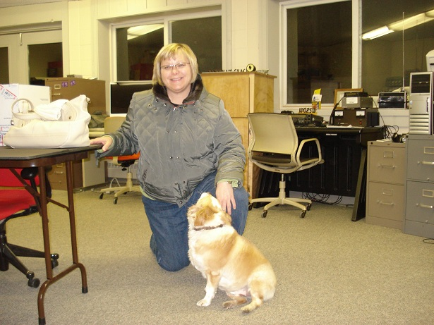 Susan Tice and Jasper at the Handiham HQ office, getting ready for the hamfest.