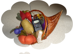 Cornucopia showing bountiful harvest of fruit and a handheld radio