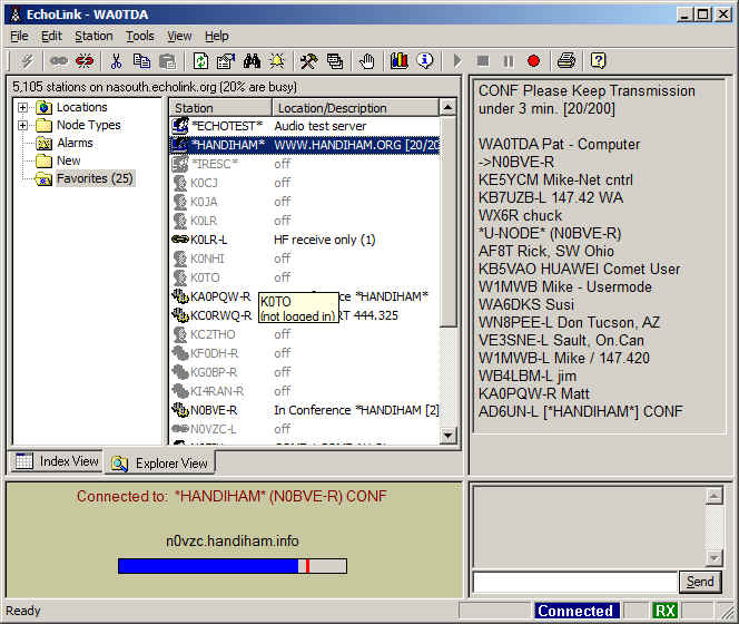 Echolink screenshot showing connection to HANDIHAM conference server.