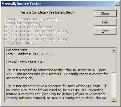 Firewall/Router Tester dialog screenshot showing test results fail on UDP.