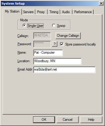 System Setup screenshot showing single-user radio button selected.