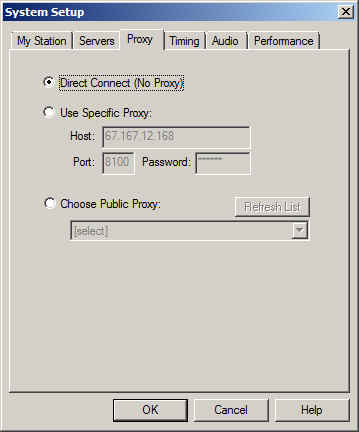 System Setup dialog showing Direct Connect radio button checked by default.