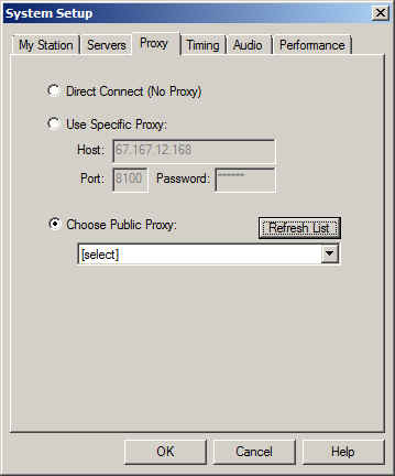 System Setup dialog showing Choose Public Proxy radio butten selected.