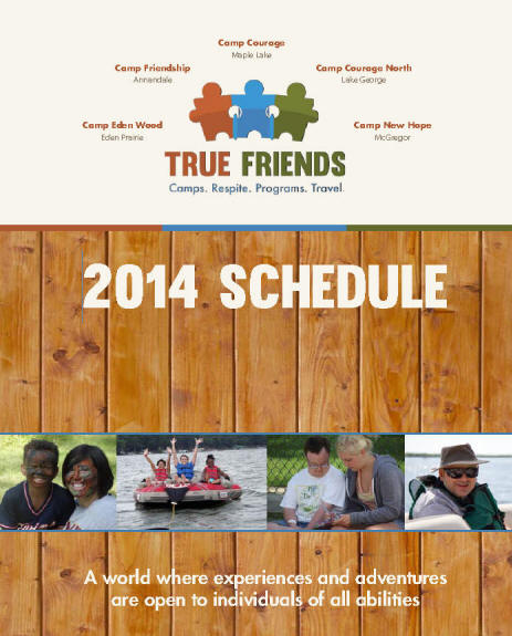 Screenshot of True Friends 2014 catalog with camper pictures on knotty pine board background.
