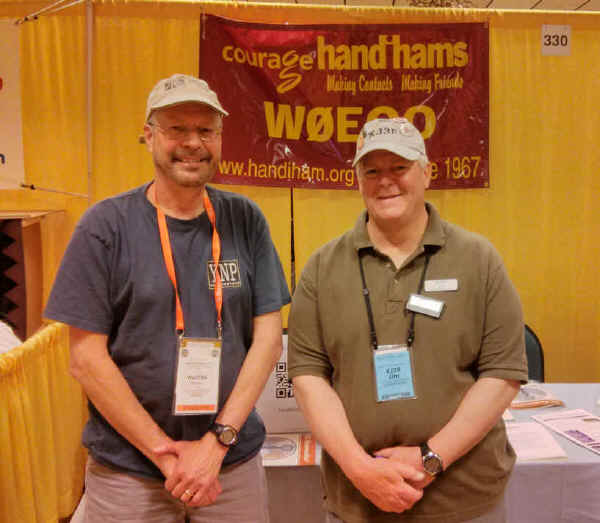 Pat, WA0TDA, and Jim, KJ3P, at the Handiham booth. Jim is our volunteer reader for QST magazine each month and we were sure glad to be able to meet him in person!