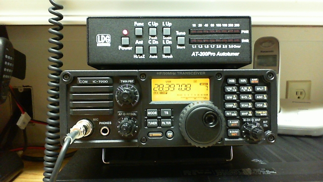 IC-7200 transceiver tuned to DX station on 28.397 MHz.
