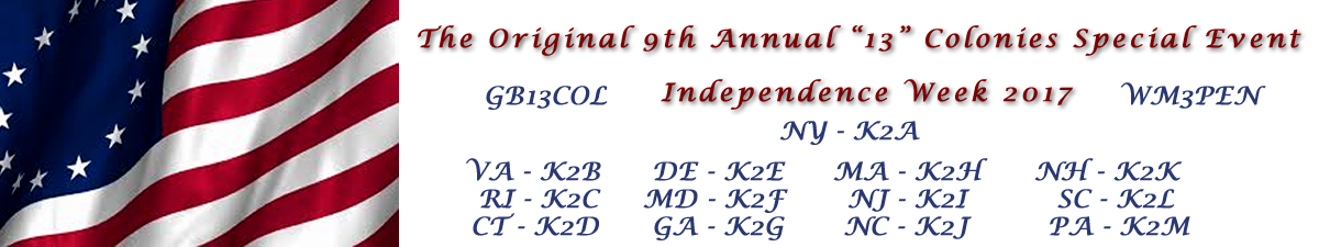 13 colonies website header with picture of 13 star flag and list of station call signs.