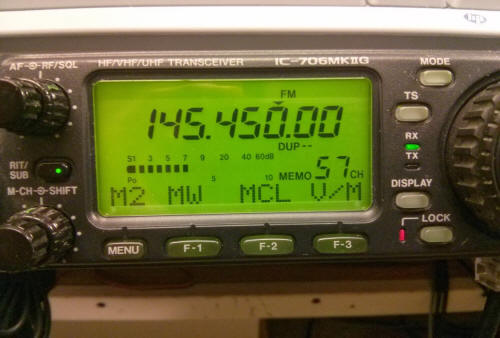 145.45 MHz in the display of an IC-706M2G transceiver