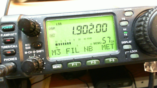 IC-706 transceiver showing 1.902 MHz on the display
