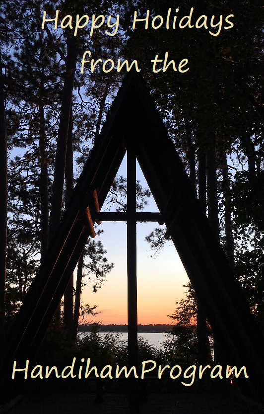Photo of chapel at Camp Courage North at sunset with the words Happy Holidays from the Handiham Program.
