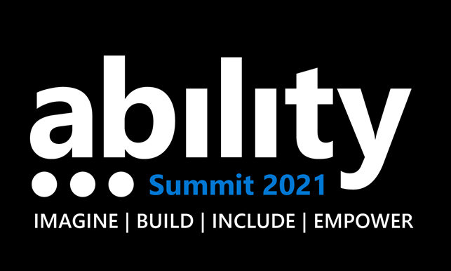 Photo of logo with Ability Summit 2021 written on a black background.