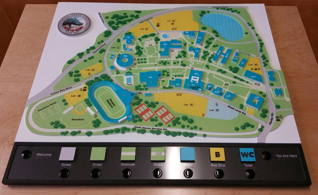 photo of 3D campus map with audio options