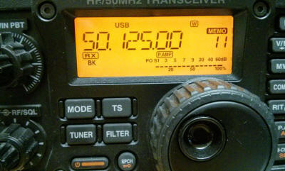 Amateur radio tuned to 50.125 megahertz.