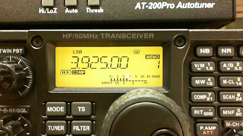 IC-7200 display set to 3.925 MHz