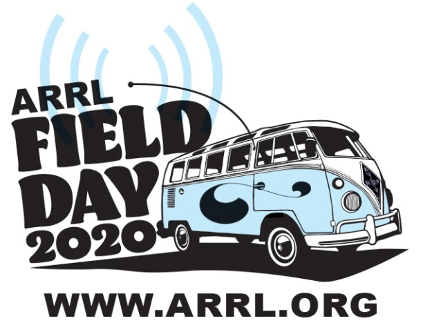 ARRL Field Day 2020 with drawing of van with ham station.