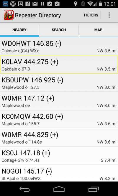 Screenshot of ARRL Repeater Directory app showing stations nearby WA0TDA QTH.