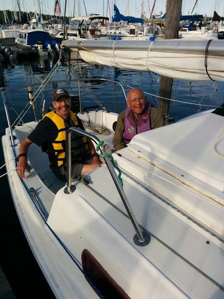 Photo of Bill and Pat on Bill's sailboat.