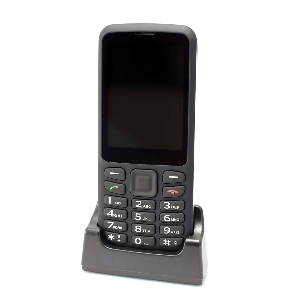 Photo of BlindShell Classic 2 smart phone sitting upright in a charger.