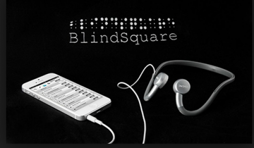 Photo of BlindSquare App open on smart phone.