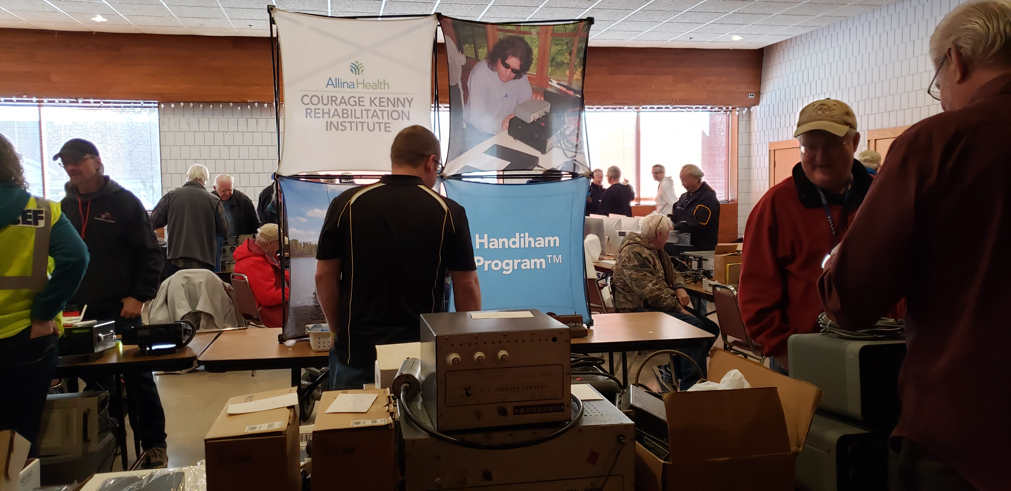 Photo of 2020 Cabin Fever Reliever hamfest at the Handiham Program booth.