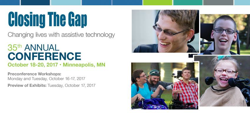 Closing the Gap 2017 Conference logo with Conference information and four pictures of persons with disabilities.