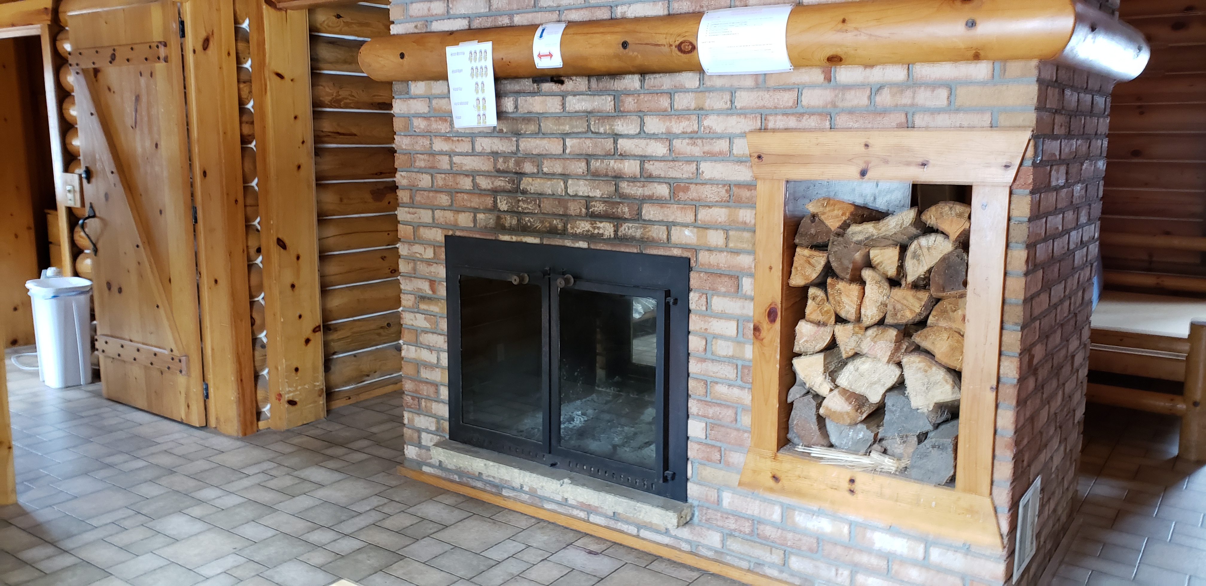 Photo of fireplace in camper cabin