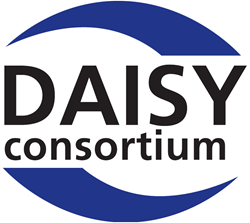 "blue and white DAISY Consortium logo"" width="
