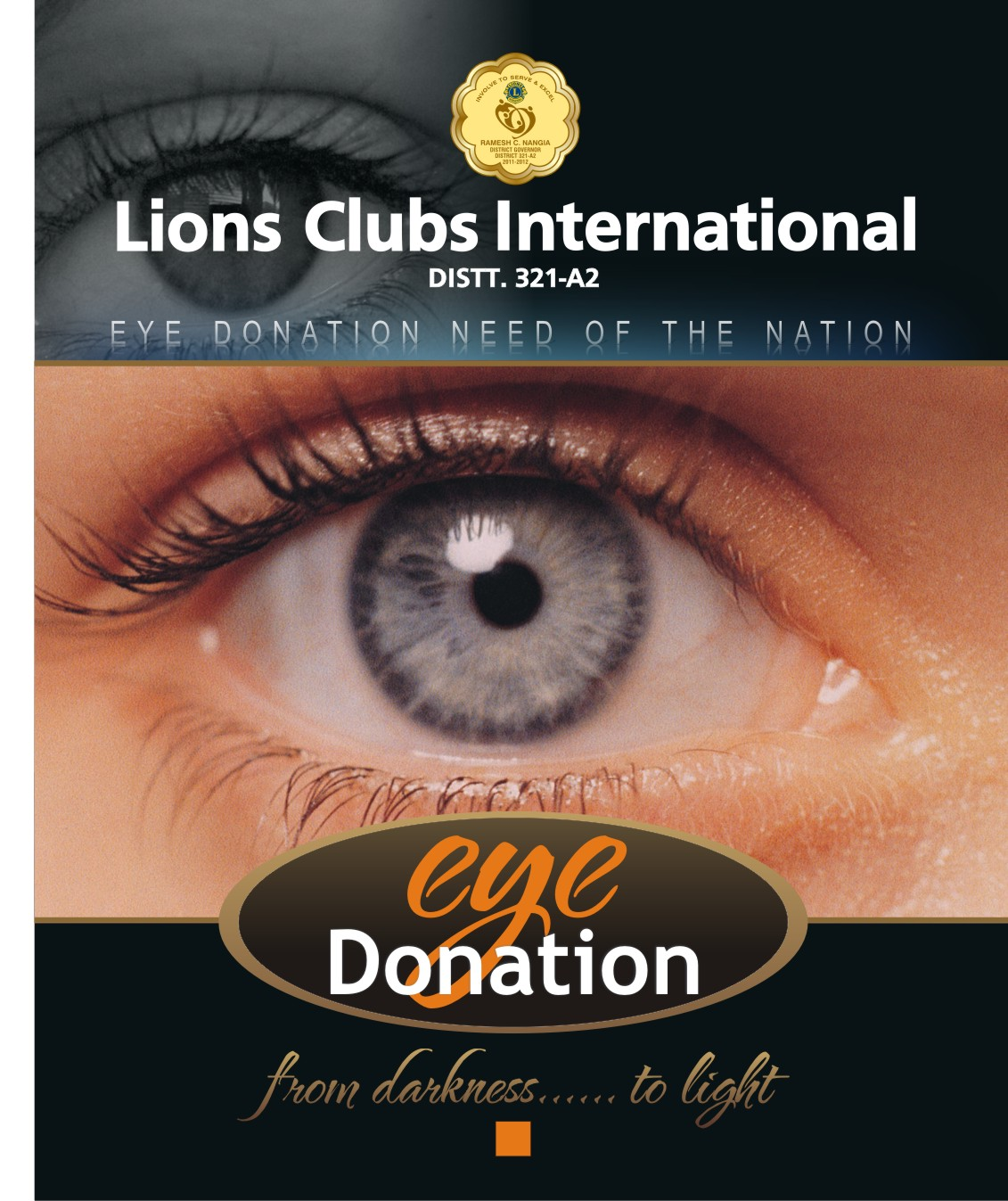 Lions Clubs International.  Eye Donation: Need of the Nation.  Close-up picture of open eye.